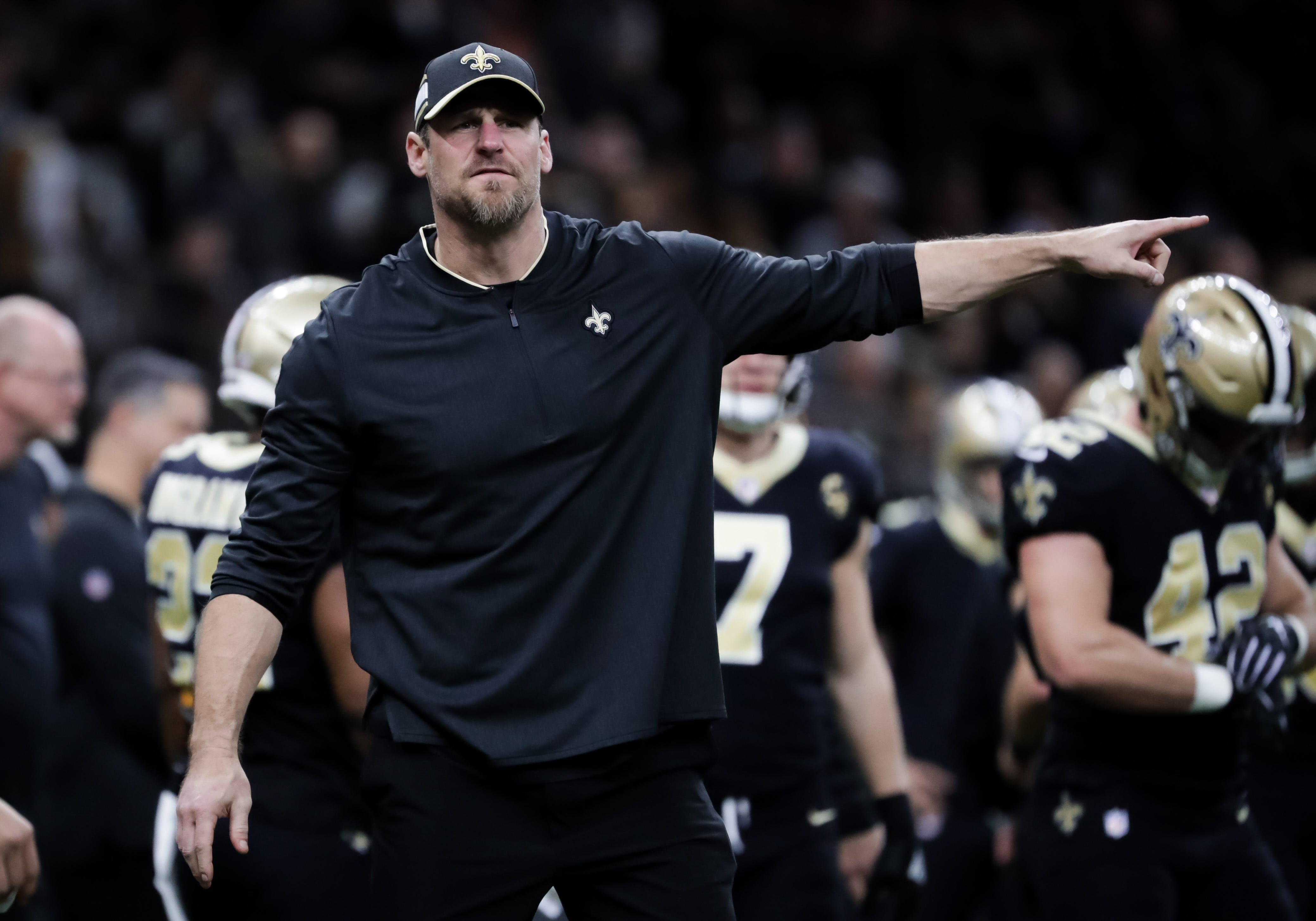 New Orleans Saints assistant coach and narrow-team coach Dan Campbell during the play-off match preliminary match against the Philadelphia Eagles at the Mercedes-Benz Super Dome, January 13, 2019.