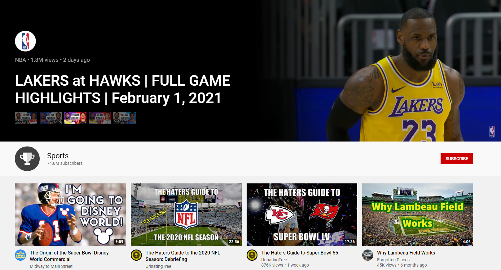YouTube меняет дизайн своей спортивной страницы, чтобы рекламировать громкие события, материалы о спортсменах и живые игры.